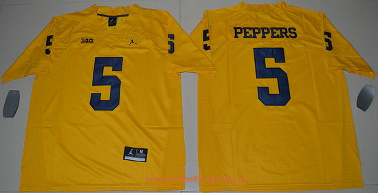 Men's Michigan Wolverines #5 Jabrill Peppers Yellow Stitched College Football 2016 Brand Jordan NCAA Jersey