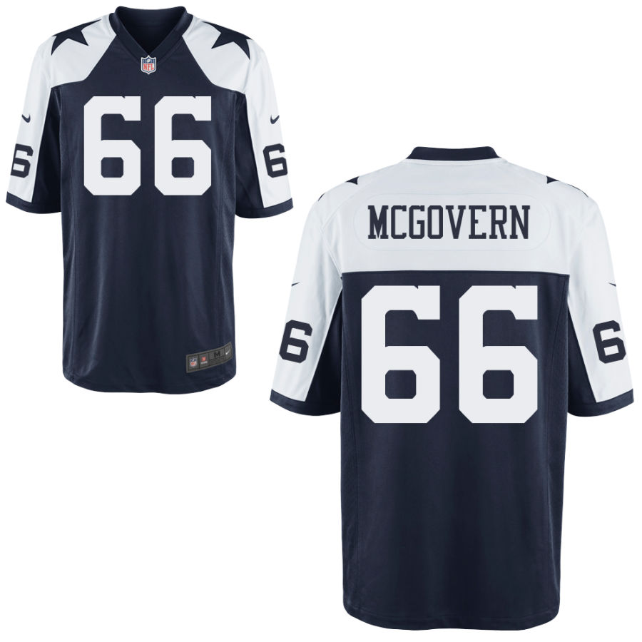 Men's Dallas Cowboys #66 Connor McGovern Blue Thanksgiving Alternate Stitched NFL Nike Game Jersey