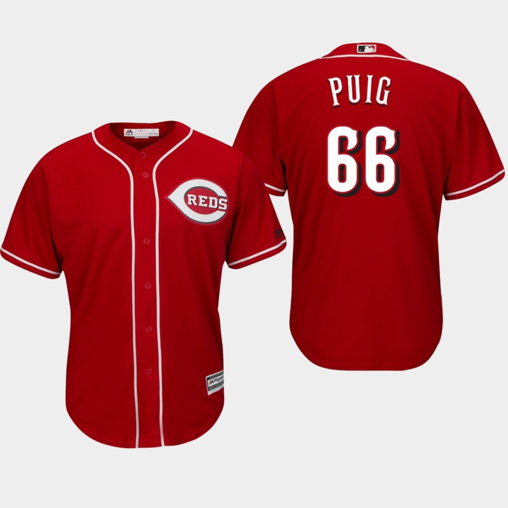 Men's Cincinnati Reds #66 Yasiel Puig Red 150th Anniversary Collection Cool Base Player Jersey