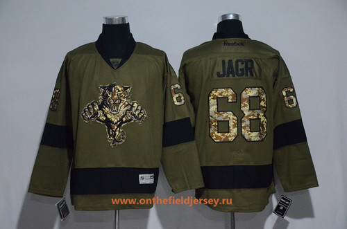 Men's Florida Panthers #68 Jaromir Jagr Green Salute To Service Stitched NHL Reebok Hockey Jersey