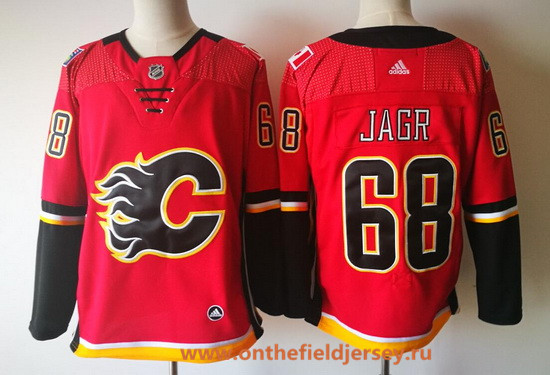 Men's Calgary Flames #68 Jaromir Jagr Red Home 2017-2018 adidas Hockey Stitched NHL Jersey