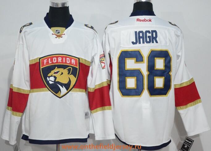 Men's Florida Panthers #68 Jaromir Jagr White Away Stitched NHL 2016-17 Reebok Hockey Jersey