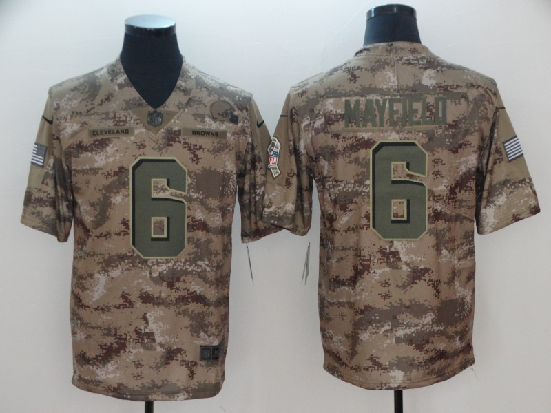 Men's Cleveland Browns #6 Baker Mayfield Nike Camo 2018 Salute to Service Stitched NFL Limited Jersey