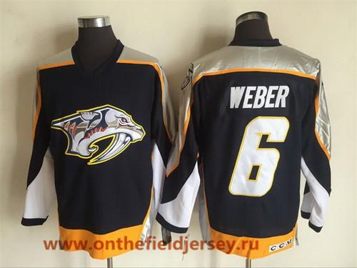 Men's Nashville Predators #6 Shea Weber Navy Blue 1998-99 Throwback Stitched NHL CCM Vintage Hockey Jersey