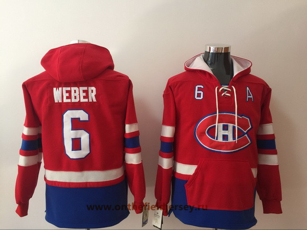 Men's Montreal Canadiens #6 Shea Weber Red Pocket Stitched NHL Old Time Hockey Pullover Hoodie