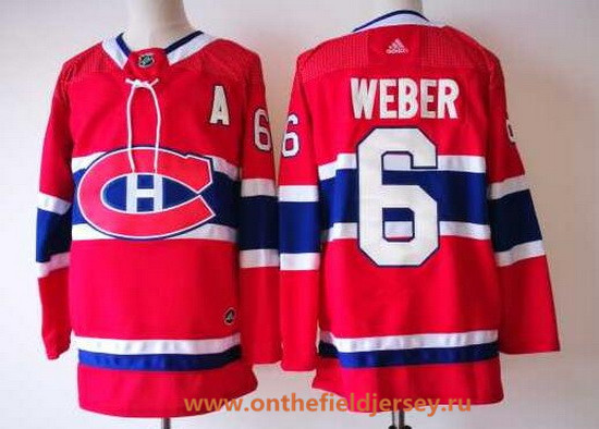Men's Montreal Canadiens #6 Shea Weber Red Home 2017-2018 Adidas Hockey Stitched NHL Jersey