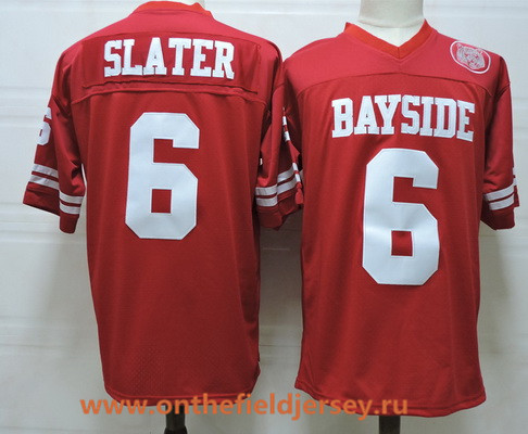Men's The Moive Saved By The Bell AC Bayside #6 Slater Red Stitched Film Football Jersey