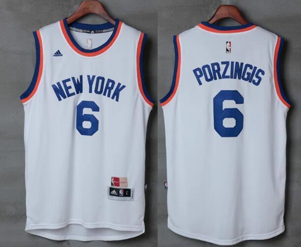 Men's New York Knicks #6 Kristaps Porzingis White 2017 Retro Stitched NBA adidas Revolution 30 Swingman Jersey
