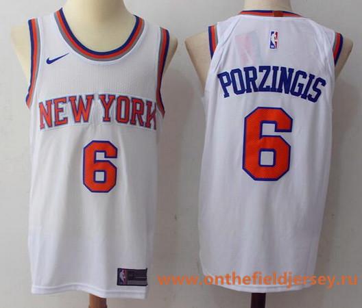 Men's New York Knicks #6 Kristaps Porzingis White 2017-2018 Nike Swingman Rakuten Stitched NBA Jersey