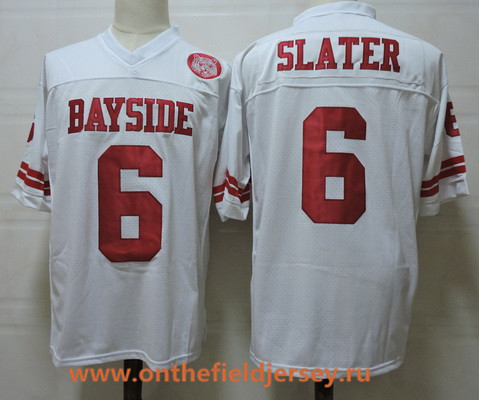 Men's The Moive Saved By The Bell AC Bayside #6 Slater White Stitched Film Football Jersey