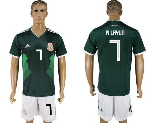 2018 World Cup Mexico National Team Home Green #7 M. Layun Men's Soccer Shirt Kit