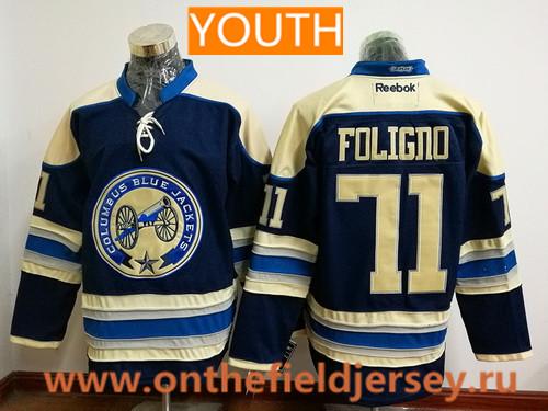 Youth Columbus Blue Jackets #71 Nick Foligno Royal Blue Third Stitched NHL Reebok Hockey Jersey