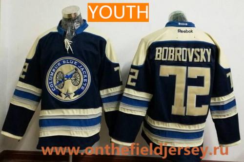 Youth Columbus Blue Jackets #72 Sergei Bobrovsky Royal Blue Third Stitched NHL Reebok Hockey Jersey
