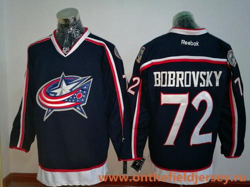 Men's Columbus Blue Jackets #72 Sergei Bobrovsky Navy Blue Home Stitched NHL Reebok Hockey Jersey