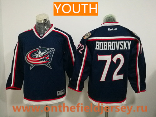 Youth Columbus Blue Jackets #72 Sergei Bobrovsky Navy Blue Home Stitched NHL Reebok Hockey Jersey