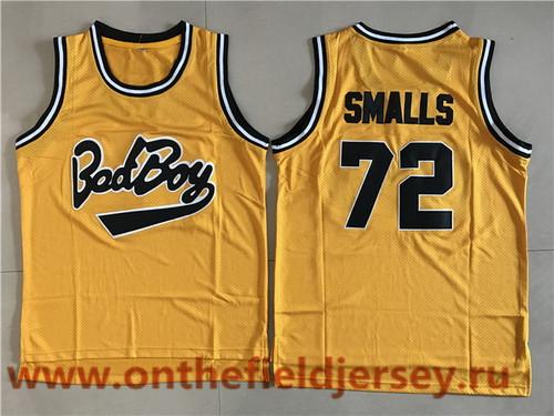 Men's The American Rapper Bad Boy #72 Biggie Smalls Yellow Swingman Basketball Jersey