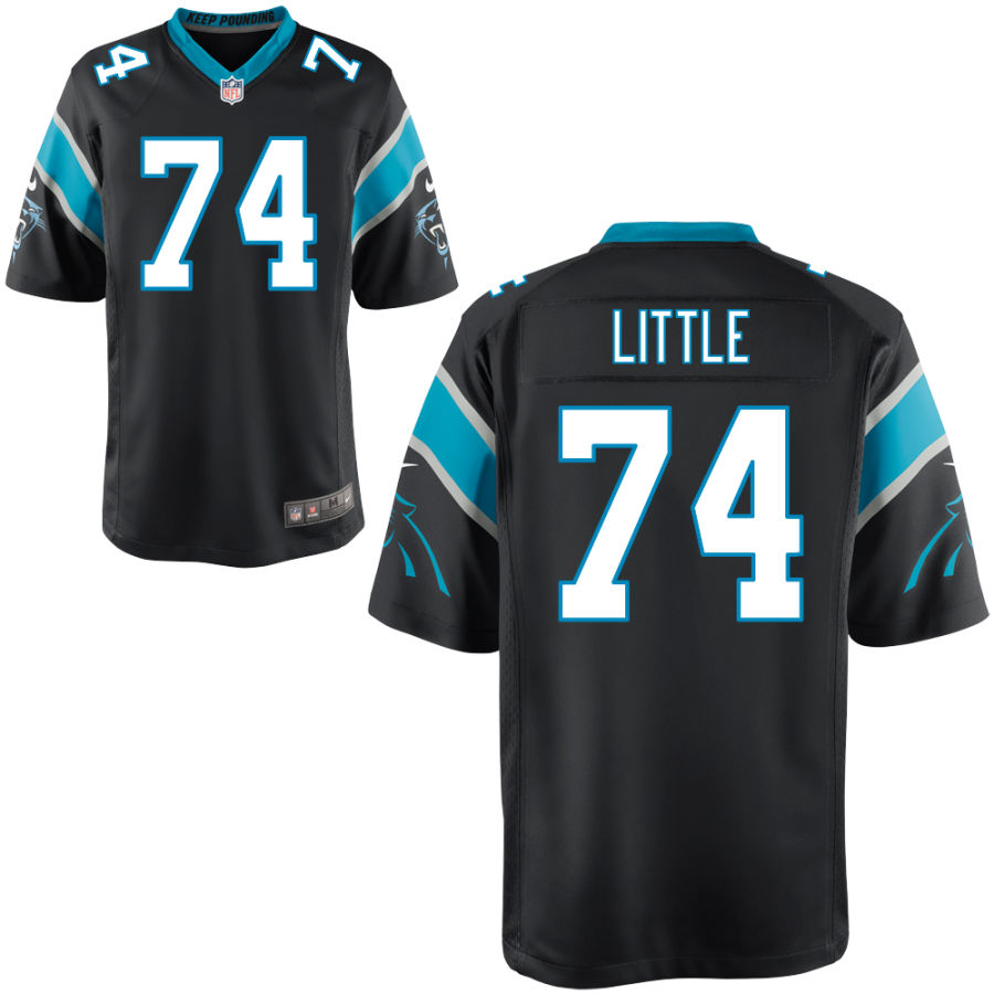 Men's Carolina Panthers #74 Greg Little Black Stitched NFL Nike Game Jersey