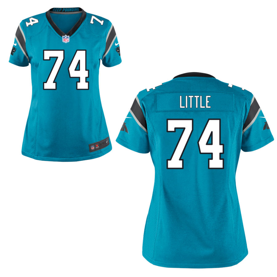 Men's Carolina Panthers #74 Greg Little Light Blue Stitched NFL Nike Game Jersey
