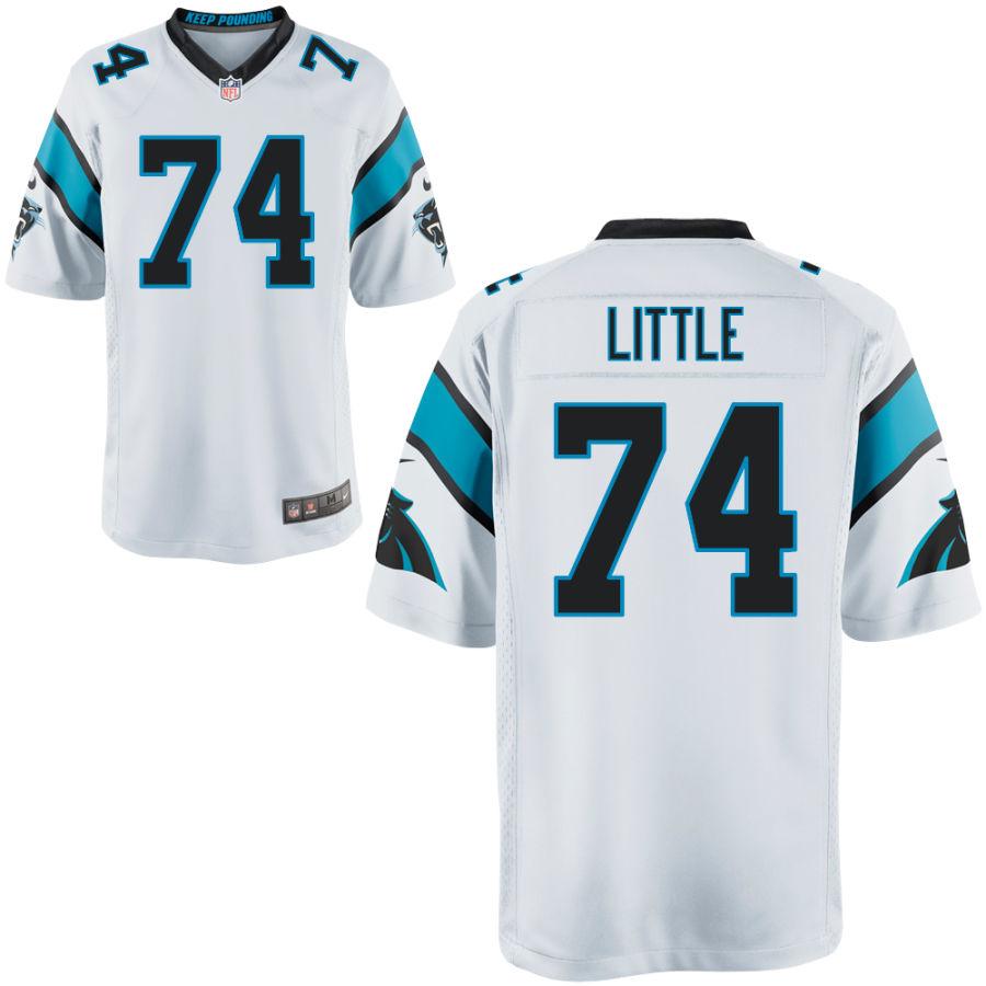 Men's Carolina Panthers #74 Greg Little White Stitched NFL Nike Game Jersey