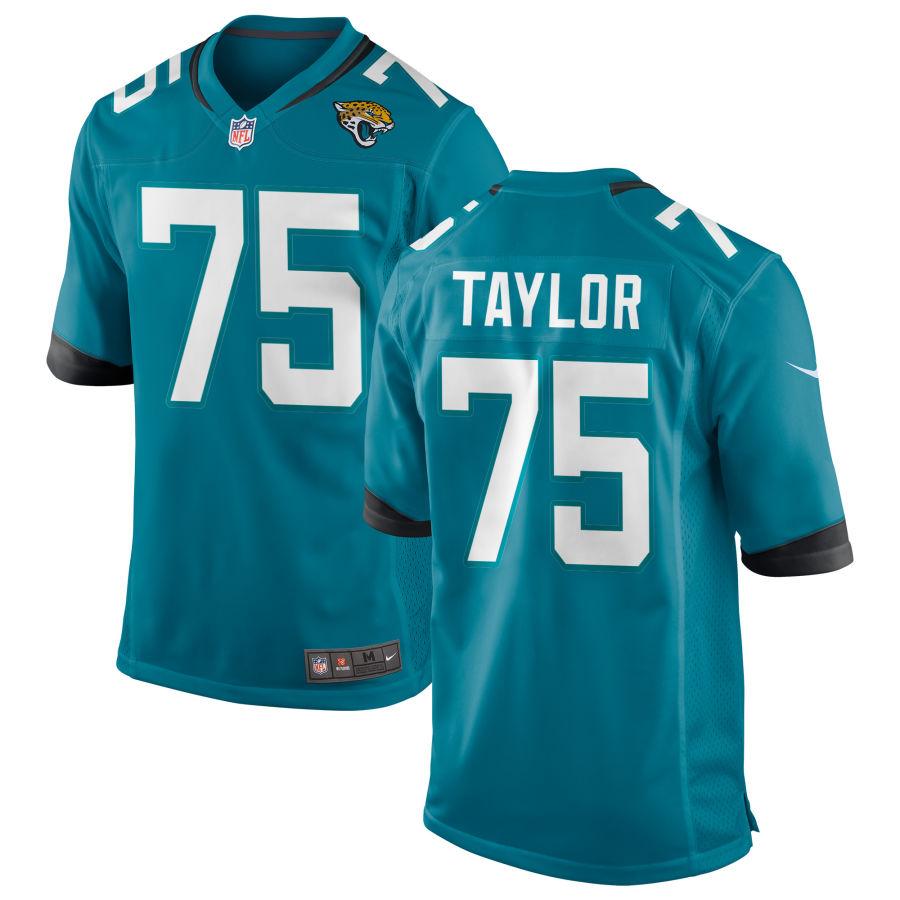 Men's Jacksonville Jaguars #75 Jawaan Taylor Teal Blue Stitched NFL Nike Game Jersey