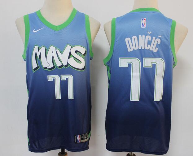Men's Dallas Mavericks #77 Luka Doncic Blue 2020 City Edition Nike Swingman Stitched NBA Jersey