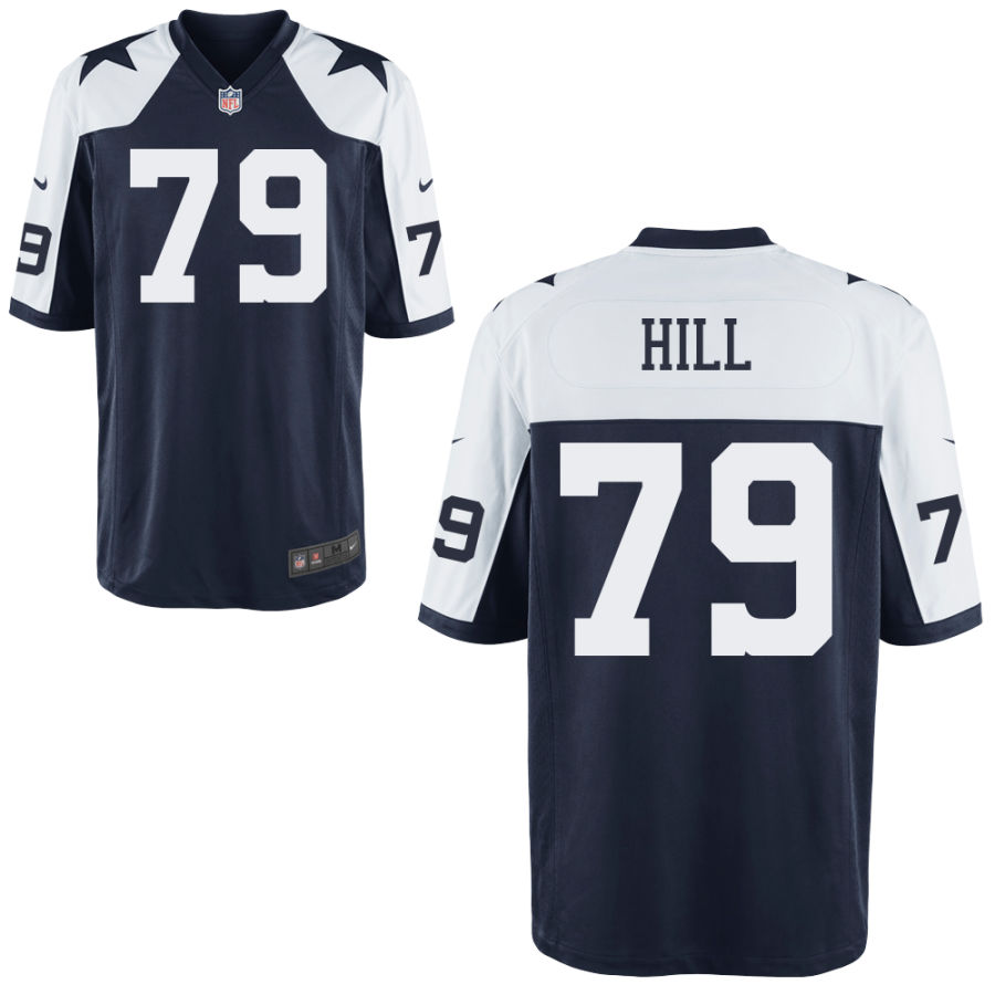 Men's Dallas Cowboys #79 Trysten Hill Blue Thanksgiving Alternate Stitched NFL Nike Game Jersey