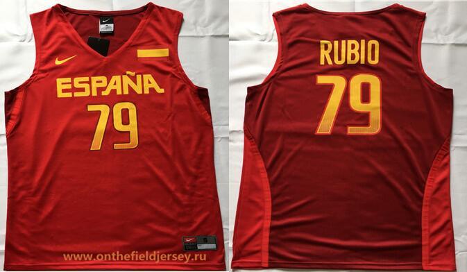 2016 Olympics Team Spain Men's #79 Ricky Rubio Red Stitched Basketball Nike Swingman Jersey