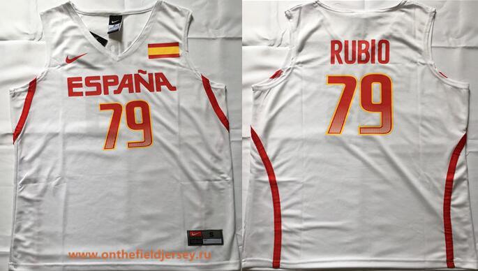 2016 Olympics Team Spain Men's #79 Ricky Rubio White Stitched Basketball Nike Swingman Jersey