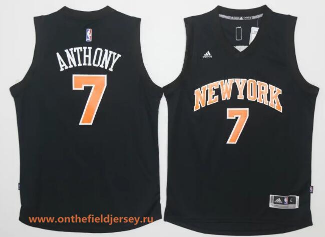 Men's New York Knicks #7 Carmelo Anthony Black Stitched 2016 NBA Adidas Revolution 30 Swingman Jersey