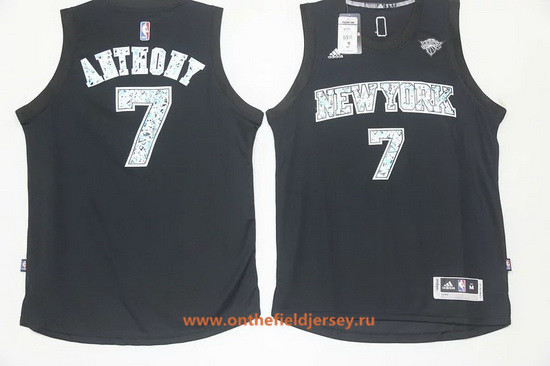 Men's New York Knicks #7 Carmelo Anthony Black Diamond Stitched NBA Adidas Revolution 30 Swingman Jersey