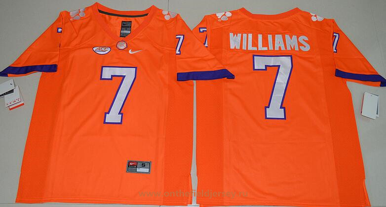 Men's Clemson Tigers #7 Mike Williams Orange Stitched NCAA Nike 2016 College Football Jersey