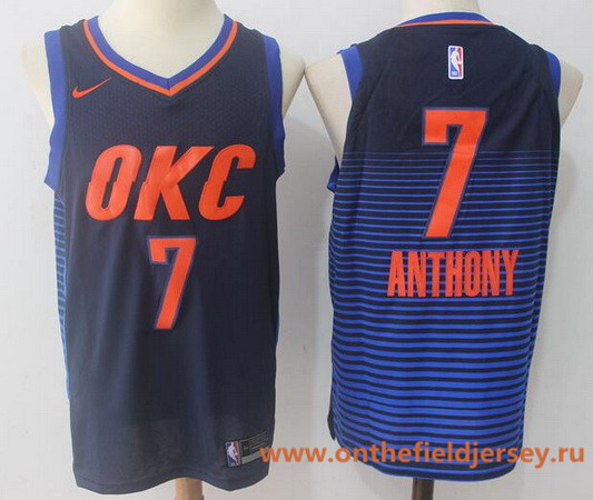 Men's Oklahoma City Thunder #7 Carmelo Anthony Navy Blue Pinstirpe 2017-2018 Nike Swingman Stitched NBA Jersey