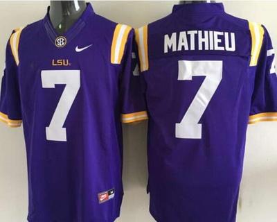 Men's LSU Tigers #7 Tyrann Mathieu Purple 2015 College Football Nike Limited Jersey