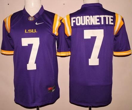 Men's LSU Tigers #7 Leonard Fournette Purple 2015 College Football Nike Limited Jersey