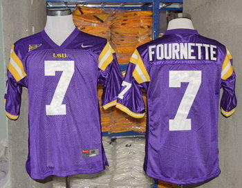 LSU Tigers #7 Leonard Fournette Purple Jersey