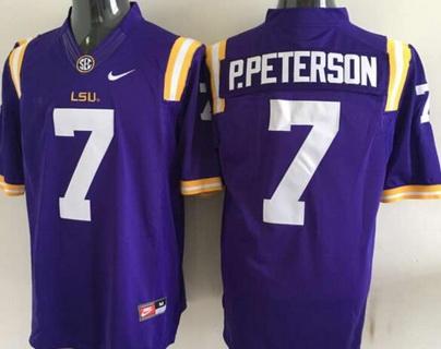 Men's LSU Tigers #7 Patrick Peterson Purple 2015 College Football Nike Limited Jersey
