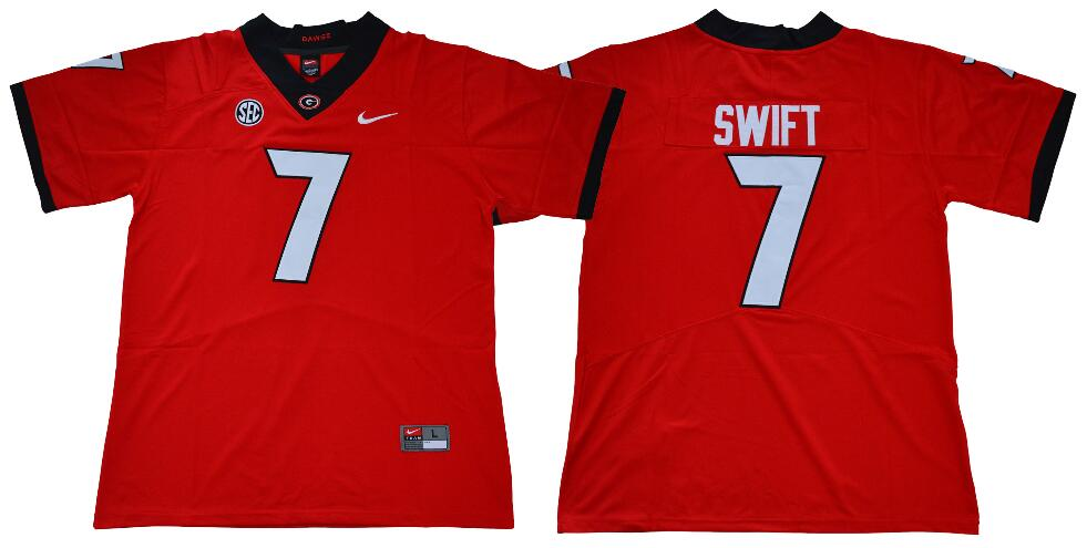 Men's Georgia Bulldogs #7 D'Andre Swift Red College Football Stitched Nike NCAA Jersey