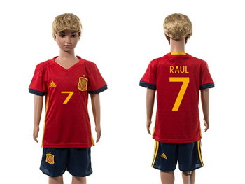 2016 European Cup Spain Home #7 Raul Red Youth Soccer Shirt Kit