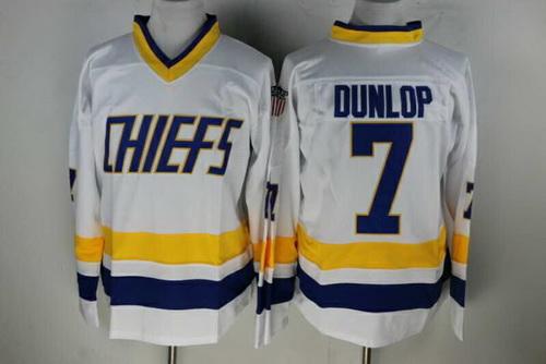 Men's The Movie Slap Shot Charlestown Chiefs #7 Reggie Dunlop White Home Stitched Hockey Jersey