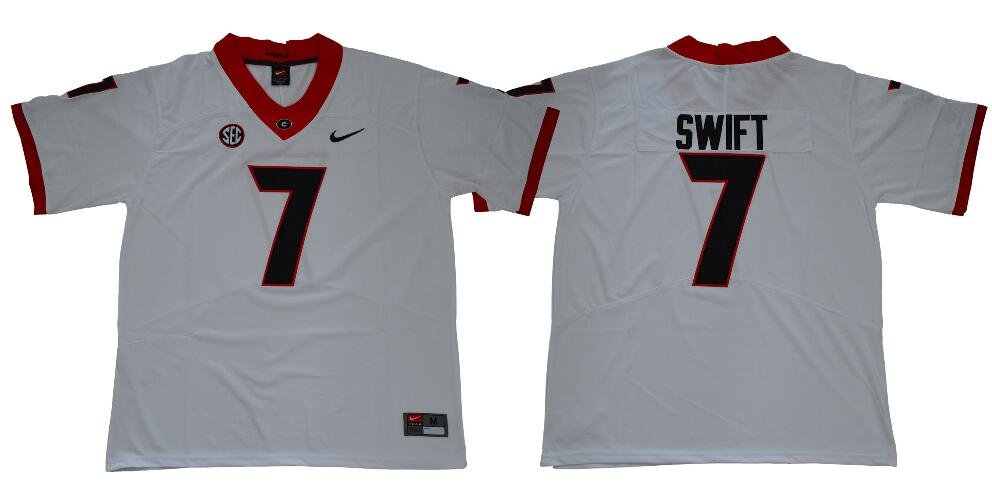 Men's Georgia Bulldogs #7 D'Andre Swift White College Football Stitched Nike NCAA Jersey