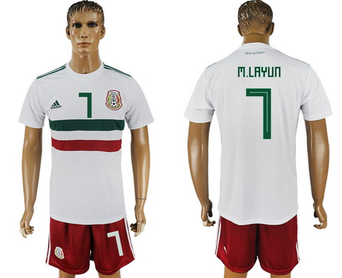 2018 World Cup Mexico National Team Away White #7 M. Layun Men's Soccer Shirt Kit