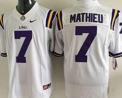 Men's LSU Tigers #7 Tyrann Mathieu White 2015 College Football Nike Limited Jersey