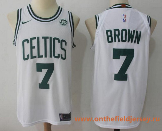 Men's Boston Celtics #7 Jaylen Brown White 2017-2018 Nike Swingman General Electric Stitched NBA Jersey