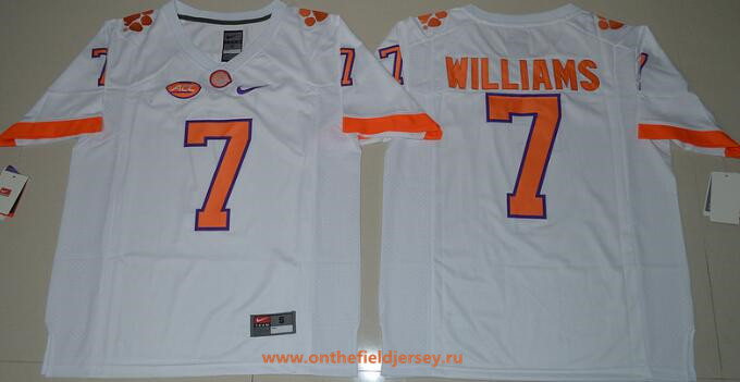 Men's Clemson Tigers #7 Mike Williams White Stitched NCAA Nike 2016 College Football Jersey