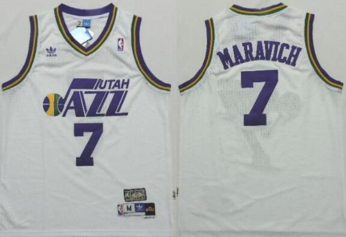 Utah Jazz #7 Pete Maravich White Hardwood Classics Soul Swingman Throwback Jersey