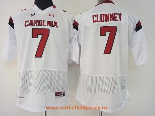 Women's South Carolina Gamecocks #7 Jadeveon Clowney White Stitched College Football Under Armour NCAA Jersey