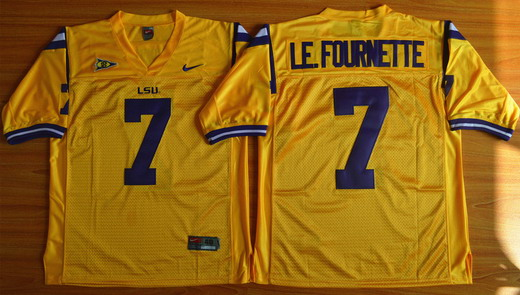 Men's LSU Tigers #7 Le.Fournette Gold 2015 College Football Nike Limited Jersey