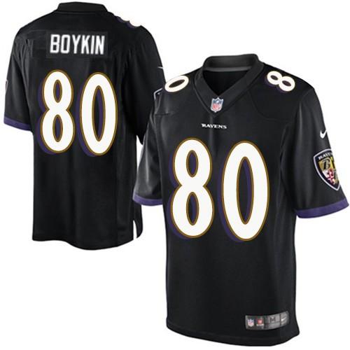 Men's Baltimore Ravens #80 Miles Boykin Black Stitched NFL Nike Limited Jersey