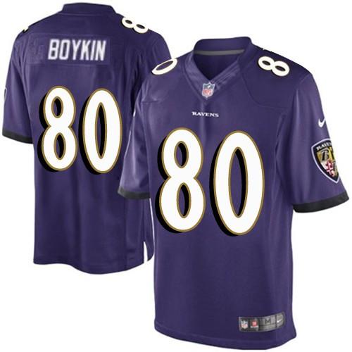 Men's Baltimore Ravens #80 Miles Boykin Purple Stitched NFL Nike Limited Jersey