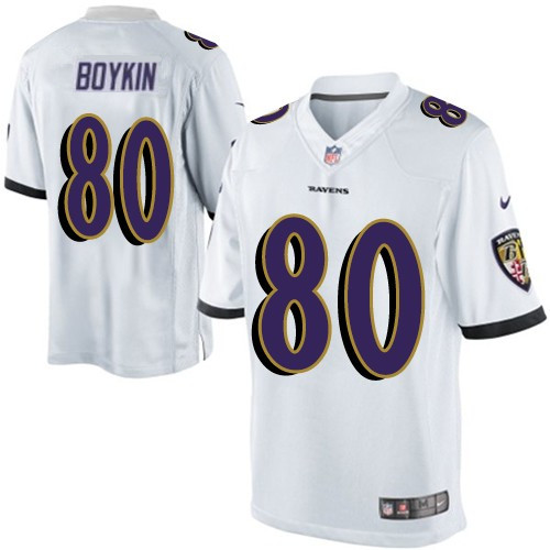 Men's Baltimore Ravens #80 Miles Boykin White Stitched NFL Nike Limited Jersey